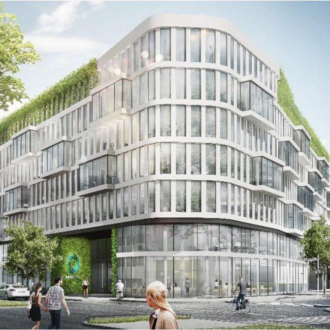 Renderansicht eines modernen Gebäudes mit Personen die davor entlang schlendern